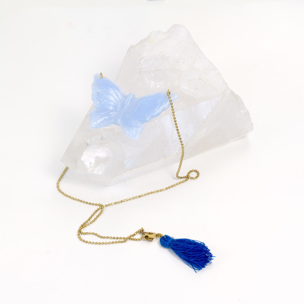 Blue Lace Agate Butterfly on brass chain