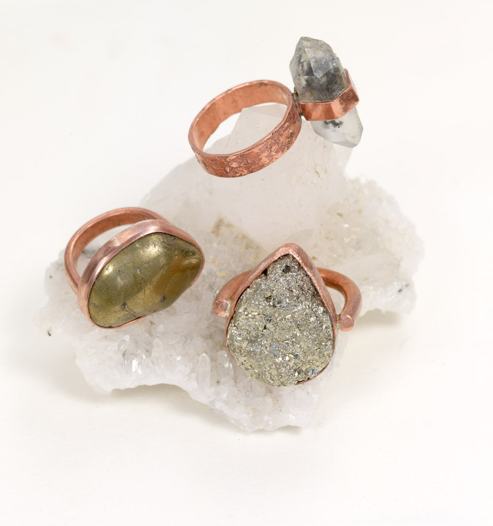 Grounding - Pyrite set in copper
