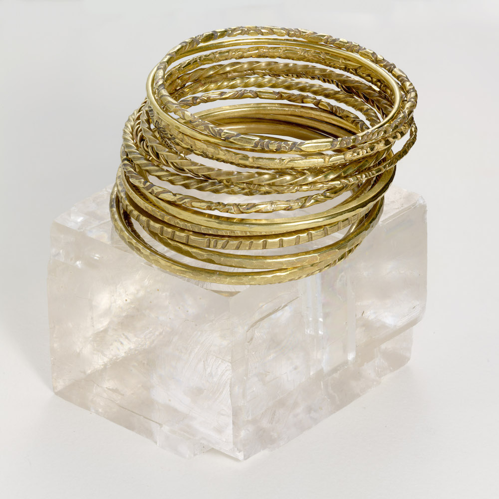 Hand made textured brass bangles