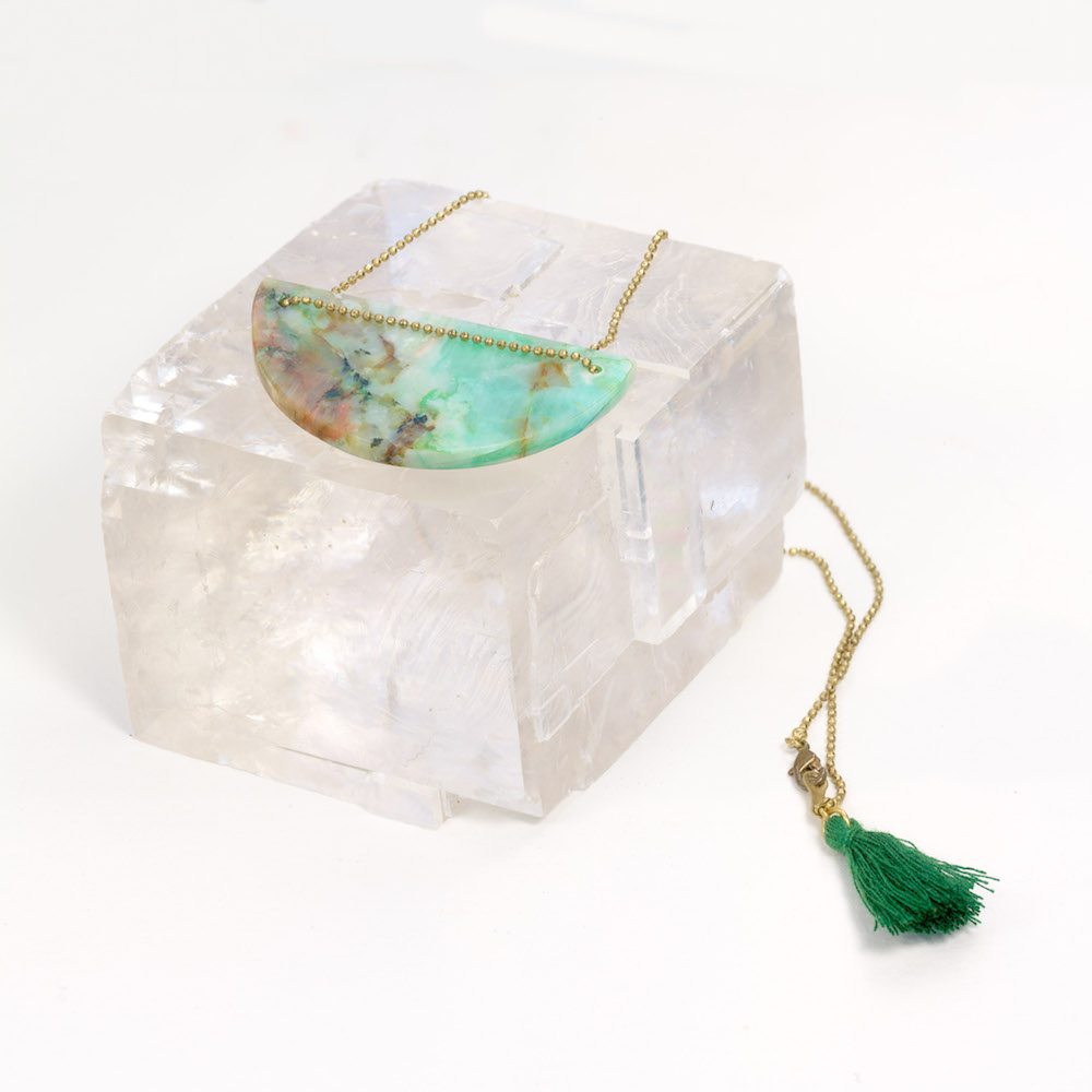Chrysocolla pendant necklace on brass chain