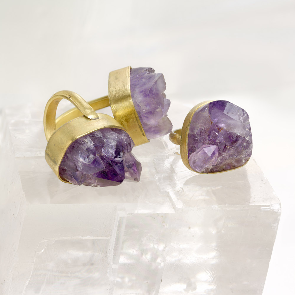 Inspiration - 3 raw Amethyst druzy rings set in brass