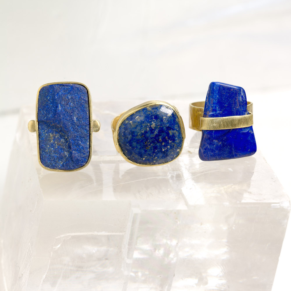 Intuition - 3 Lapis lazuli rings set in brass