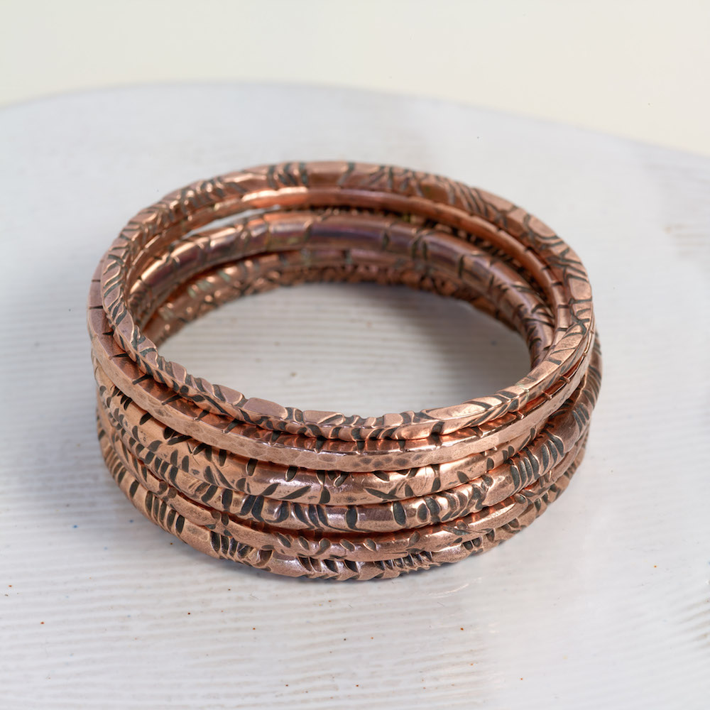 Hand made textured thick copper bangles