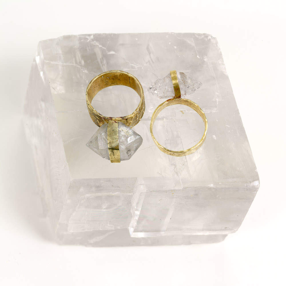 Connection - 2 Herkimer diamond rings set in brass
