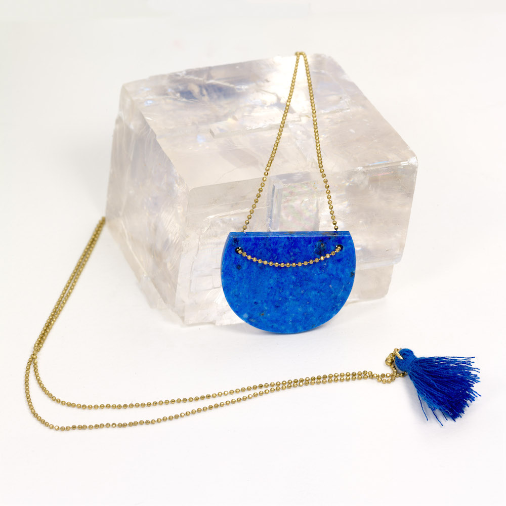 Lapis Lazuli necklace on a brass chain